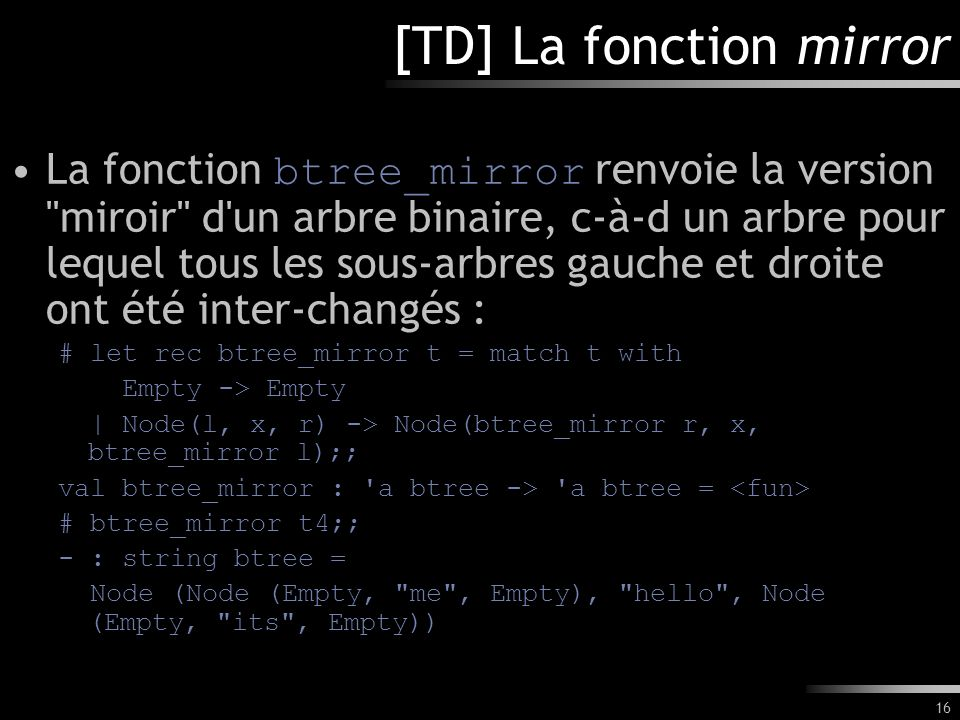 [TD] La fonction mirror
